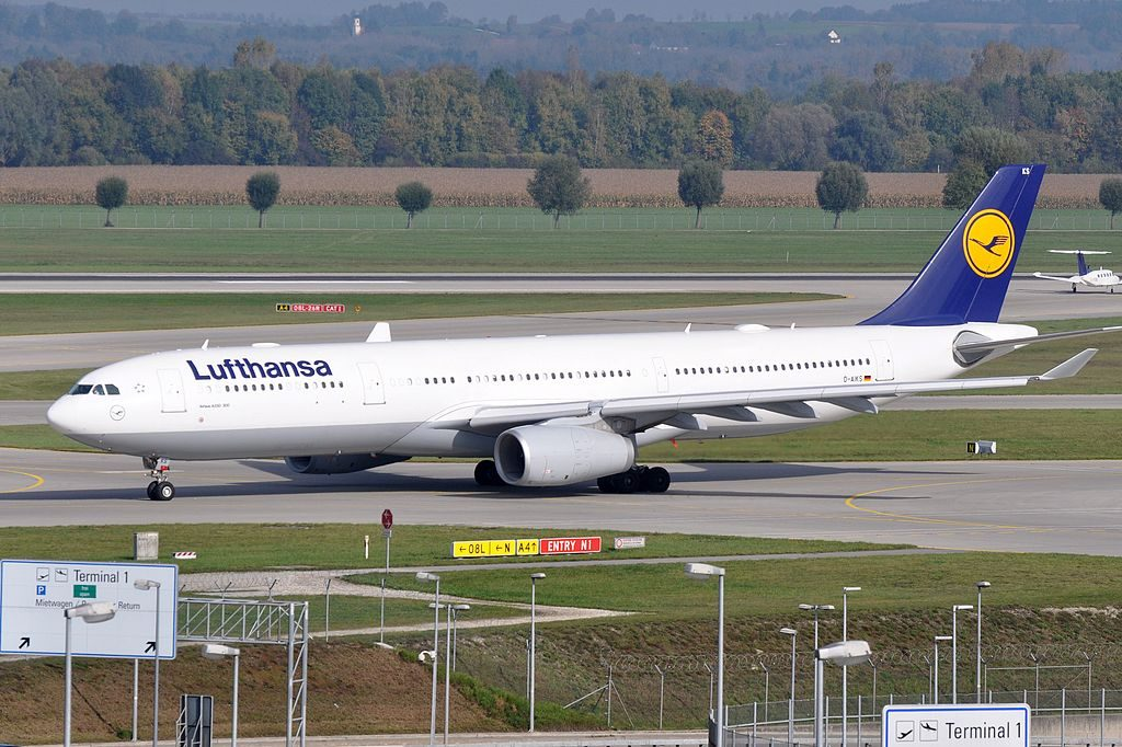D AIKS Airbus A330 300 of Lufthansa at Munich Airport