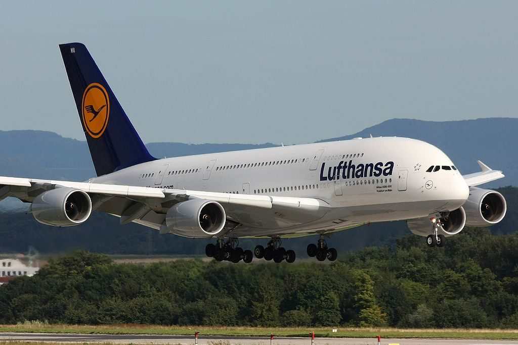 D AIMA Airbus A380 841 of Lufthansa Frankfurt am Main at Stuttgart Airport