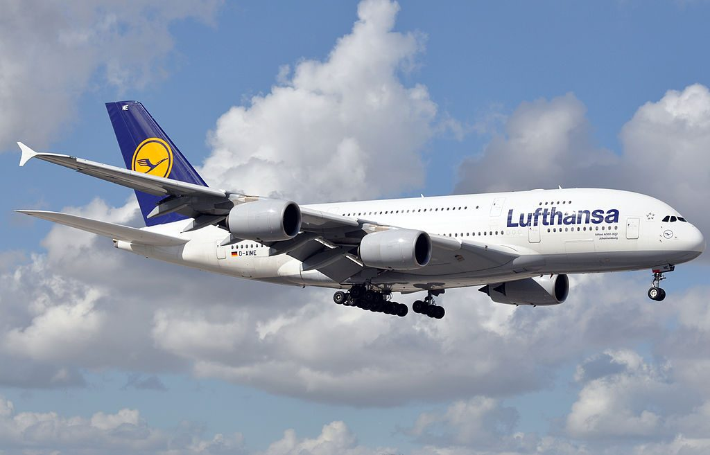 D AIME Airbus A380 841 Lufthansa Johannesburg at Miami International Airport