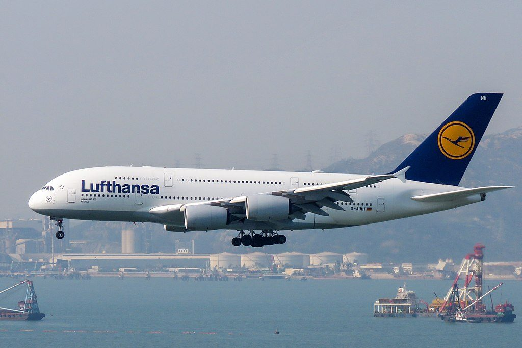 D AIMH Airbus A380 841 New York of Lufthansa at Hong Kong International Airport
