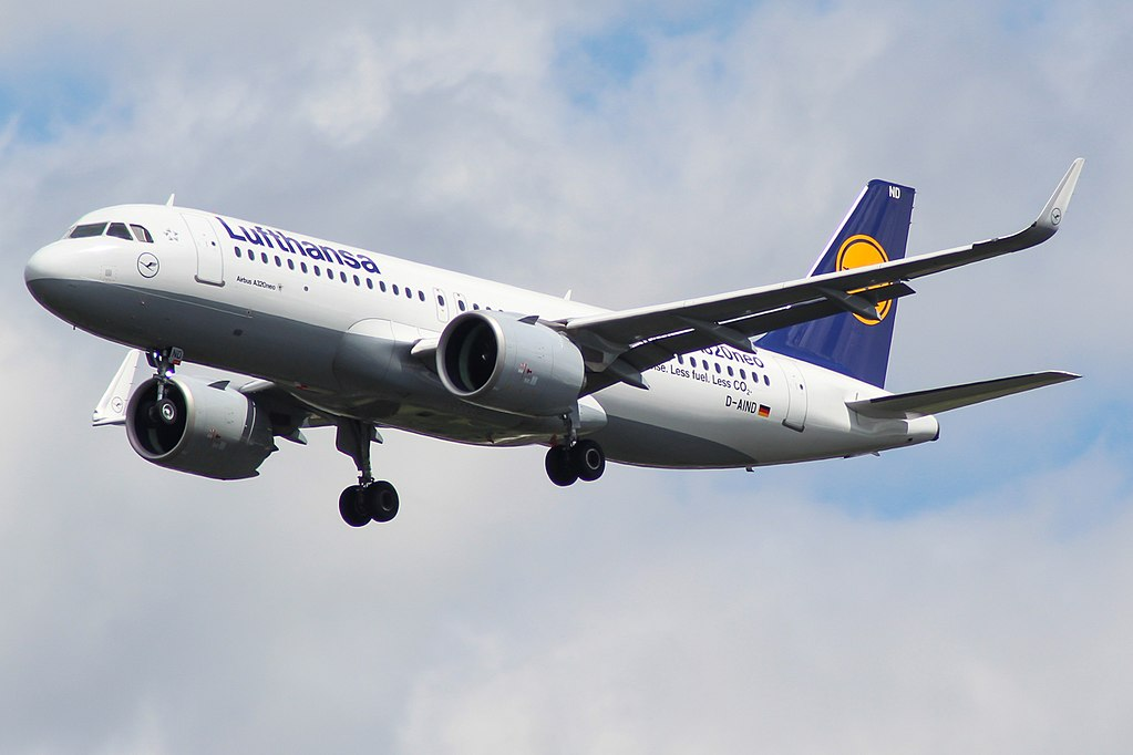 D AIND Airbus A320neo of Lufthansa at London Heathrow Airport