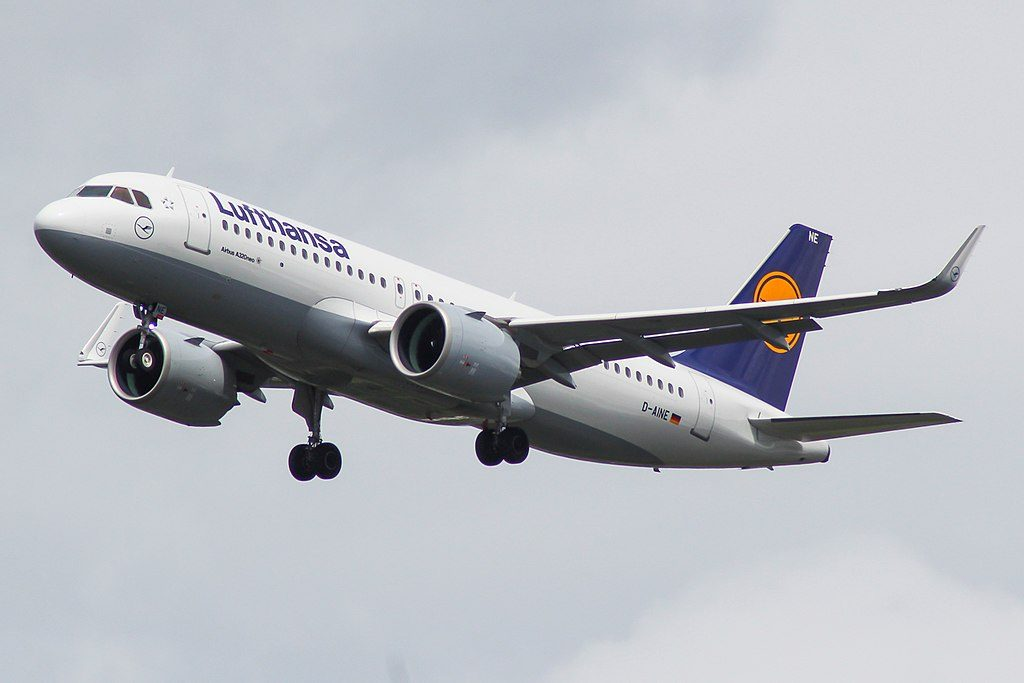 D AINE Airbus A320neo of Lufthansa at London Heathrow Airport