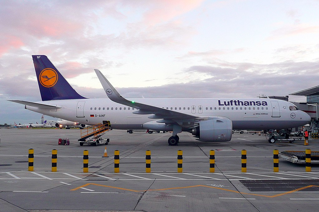 D AINF Airbus A320neo of Lufthansa at London Heathrow Airport