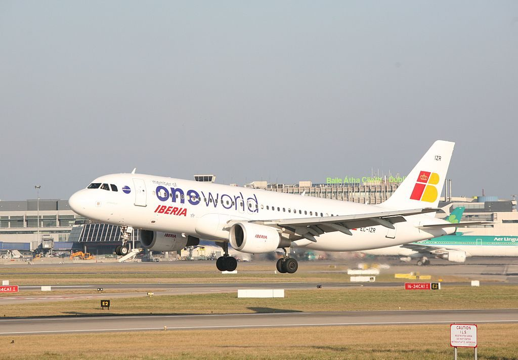 EC IZR Airbus A320 200 Urkiola of Iberia on One World livery at Dubin Airport