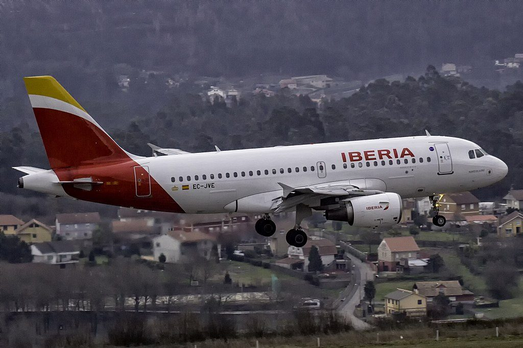 EC JVE Airbus A319 100 Puerto de la Cruz of Iberia at Vigo Airport