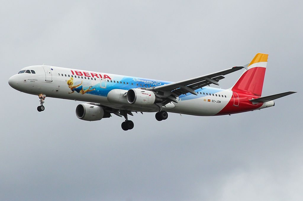 EC JZM Airbus A321 200 Águila Imperial Ibérica of Iberia Tinker Bell Disney Parks livery at London Heathrow Airport