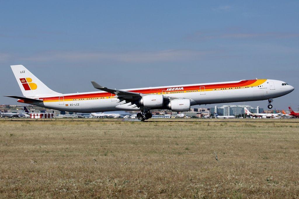 EC LCZ Airbus A340 642 Iberia Miguel Servet at Madrid Barajas Airport