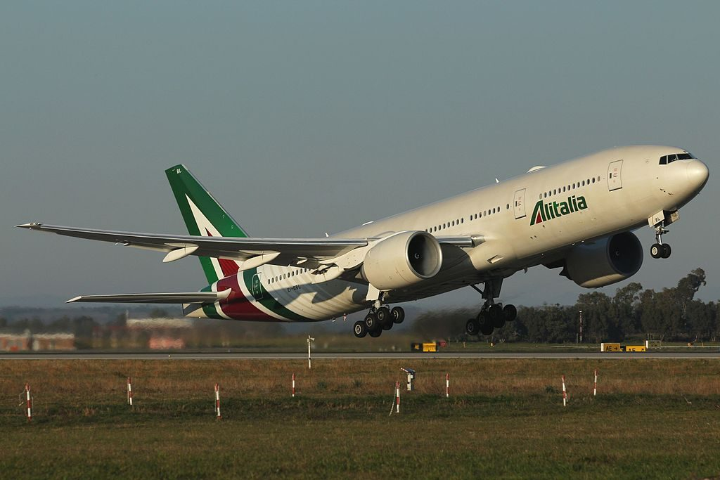 EI DBL Boeing 777 243ER Alitalia Departing to Tokyo Narita at Rome Fiumicino Airport 16R as AZ784