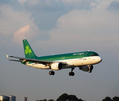 EI DEJ Aer Lingus Airbus A320 214 St Kilian Cillian landing at Schiphol