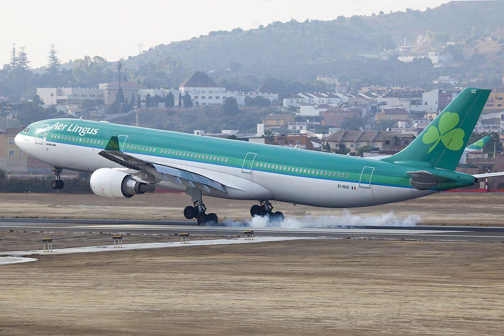 EI DUZ Airbus A330 300 of Aer Lingus St Aoife landing at Málaga Airport