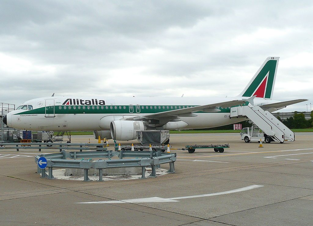 EI IKB Airbus A320 200 of Alitalia Wolfgang Amadeus MOZART at London Heathrow Airport