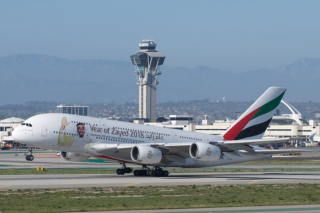 Emirates Airbus A380 800 A6 EEU Year of Zayed 2018 special livery rotates from LAX