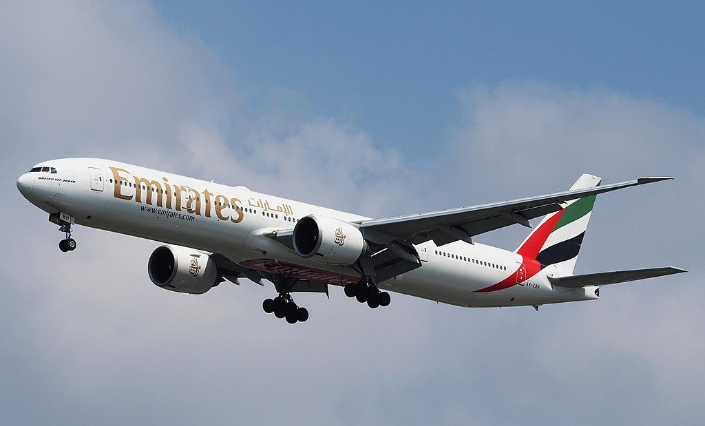 Emirates Boeing 777 300ER A6 EBH on final approach to Bangkok BKK Airport
