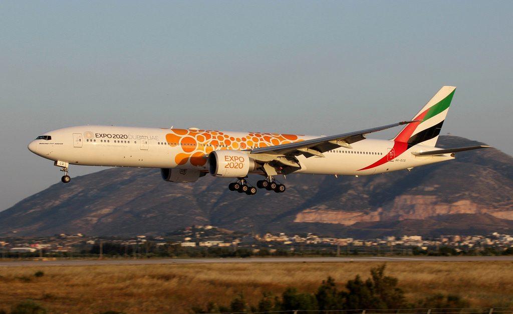 Emirates Boeing 777 300ER A6 ECD Expo 2020 Opportunity Orange cs at Athens Eleftherios Venizelos airport