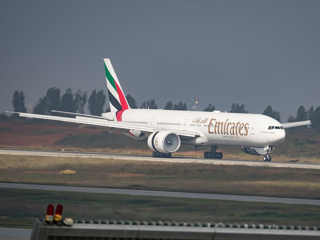 Emirates Boeing 777 300ER registered A6 EBE at Kempegowda Intl Airport Bangalore