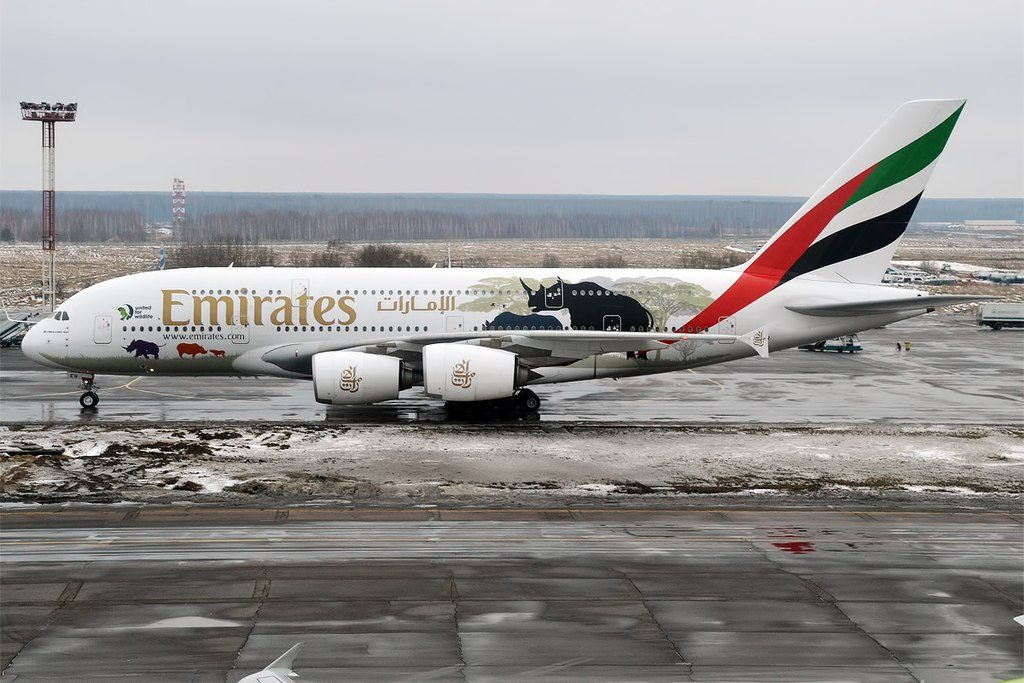 Emirates United for Wildlife livery A6 EER Airbus A380 861 at Domodedovo International Airport