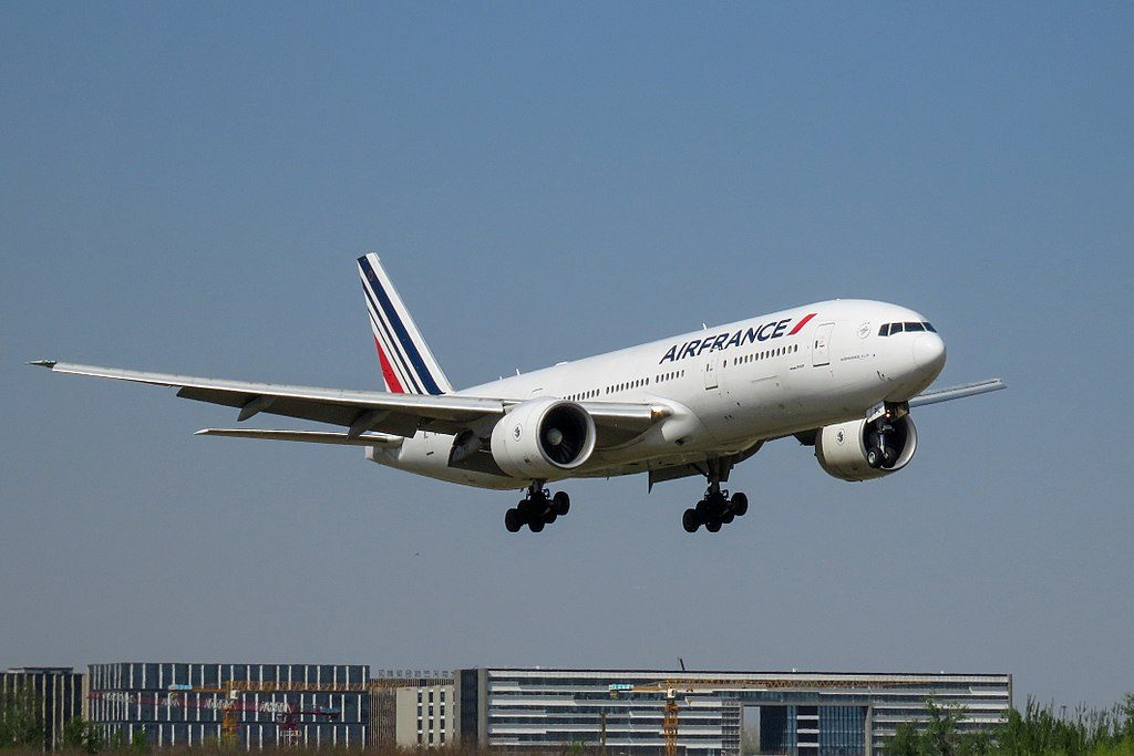 F GSPC Boeing 777 200ER of Air France landing at Beijing Capital International Airport