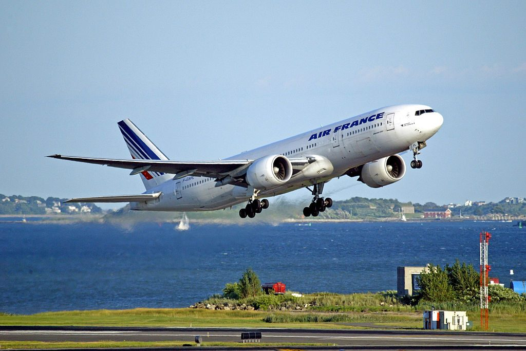 F GSPL Air France Boeing 777 200ER takes off from Logan Airport Boston