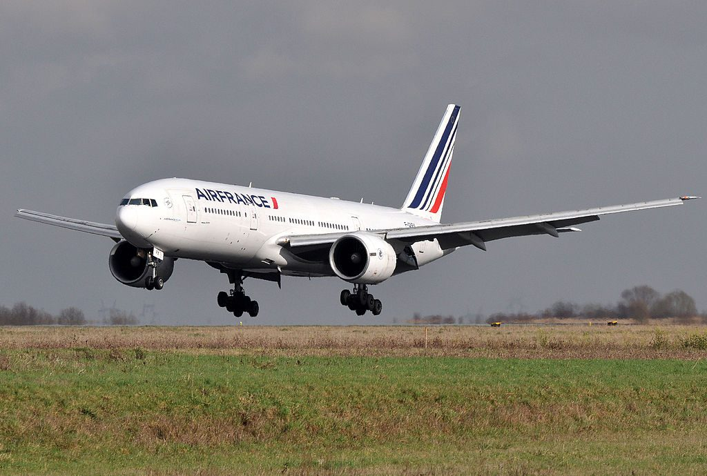 F GSPX Boeing 777 200ER of Air France landing at Paris Charles de Gaulle Airport