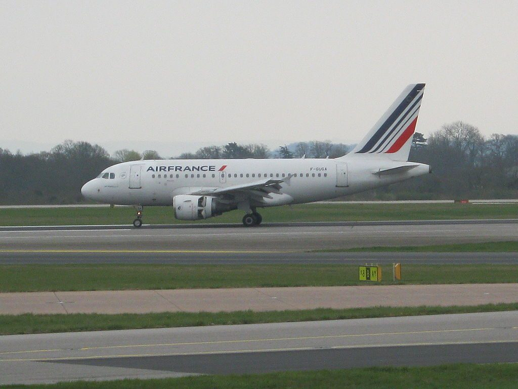 F GUGA Air France Airbus A318 100 at Manchester Airport after operating flight AF2268 from Paris CDG