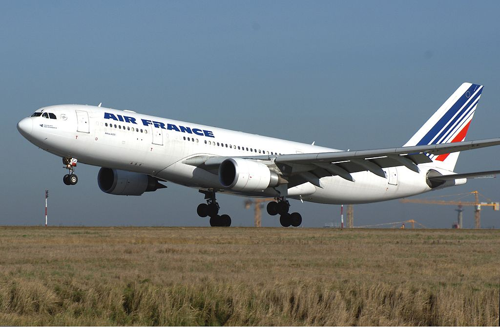 F GZCJ Airbus A330 200 of Air France landing at Paris Charles de Gaulle Airport