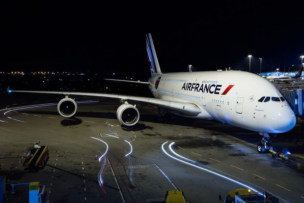 F HPJE Airbus A380 800 of Air France at Hong Kong International Airport