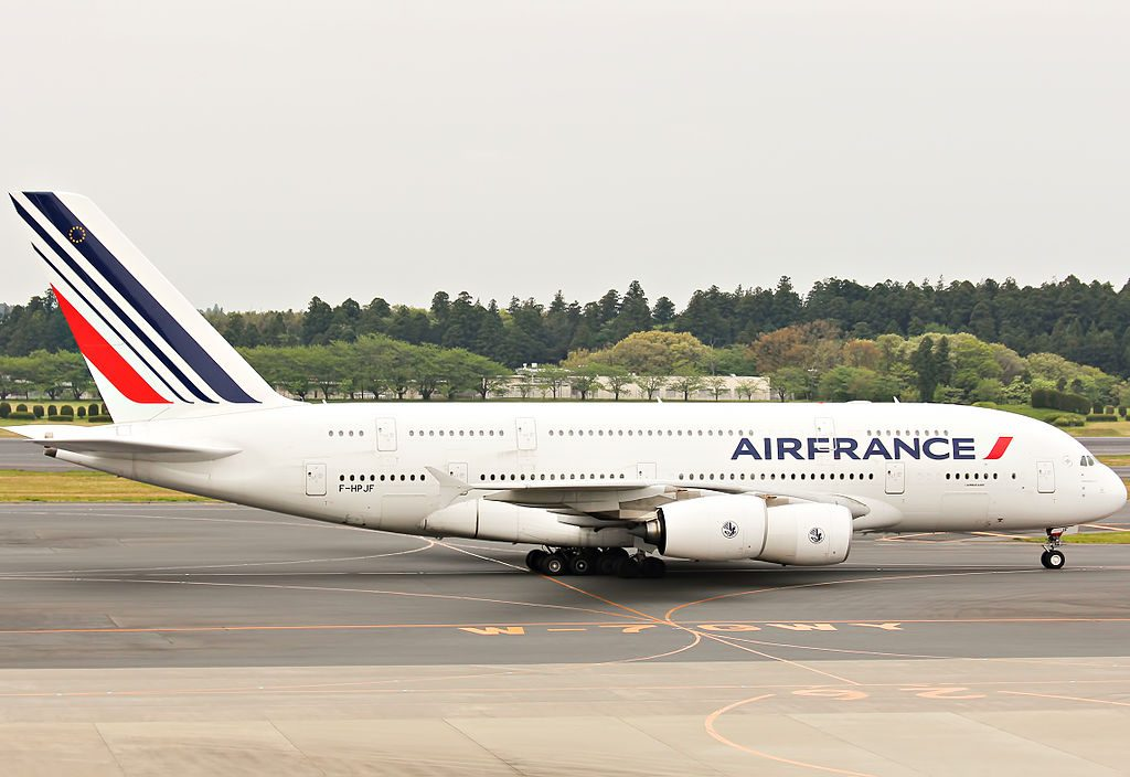 F HPJF Airbus A380 800 of Air France taxiing at Narita International Airport
