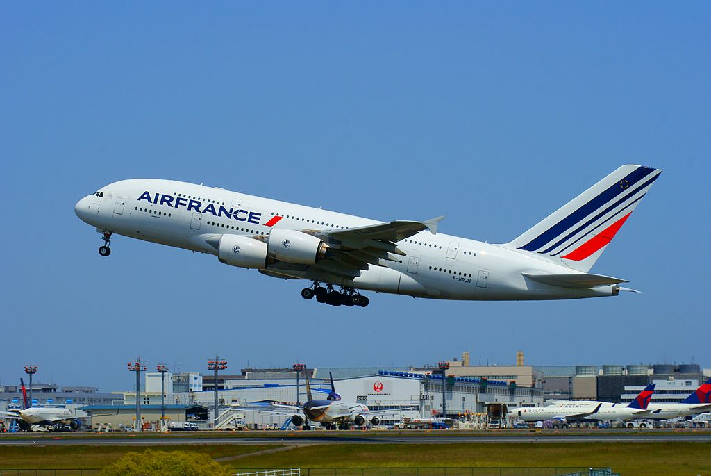F HPJH Air France Airbus A380 800 departing at Tokyo Narita Airport for Charles de Gaulle Internatinal Airport