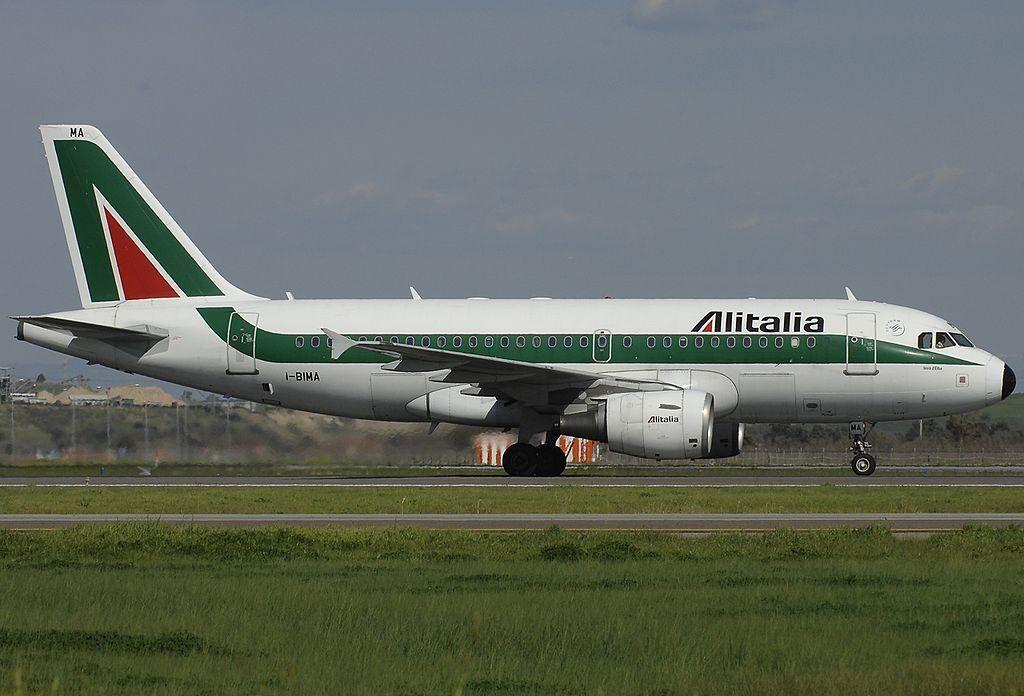 I BIMA Airbus A319 112 Alitalia Isola d'Elba at Fiumicino Airport