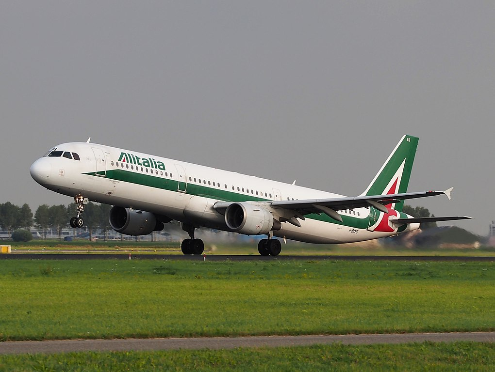 I BIXS Alitalia Airbus A321 112 Piazza San Martino LUCCA takeoff from Schiphol EHAM AMS runway 36L