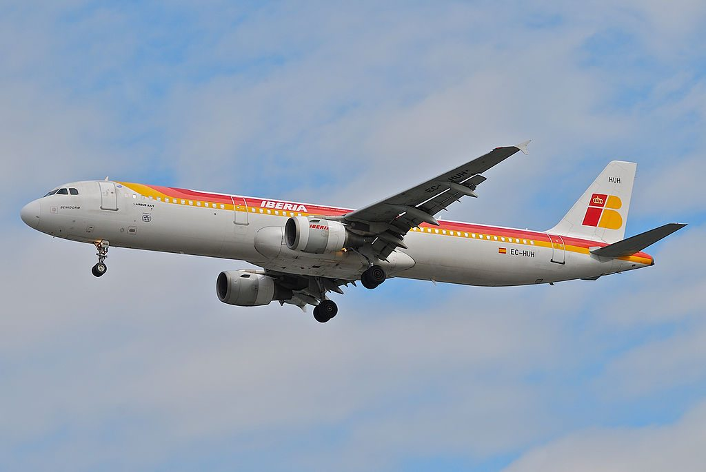 IBERIA Airbus A321 211 EC HUH Benidorm at London Heathrow Airport LHR