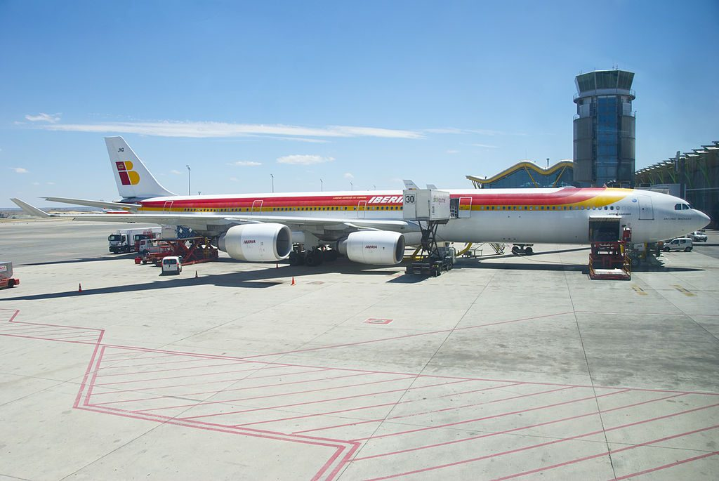 IBERIA Airbus A340 600 EC JNQ Antonio Machado at Madrid Barajas Airport MAD
