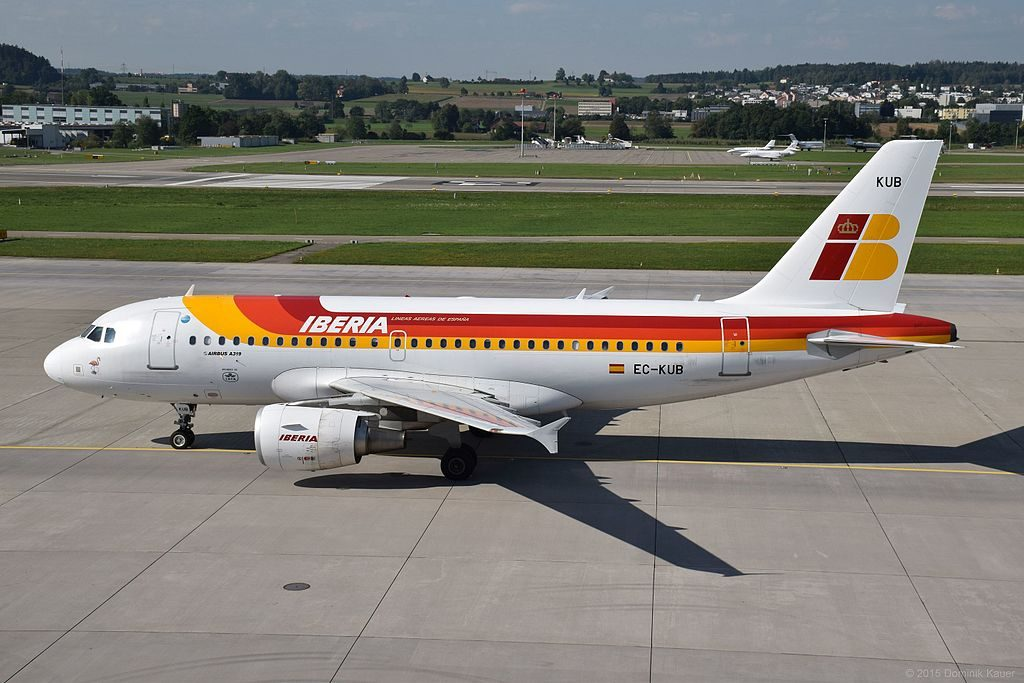 Iberia Airbus A319 111 Flamenco EC KUB at Zurich International Airport ZRH