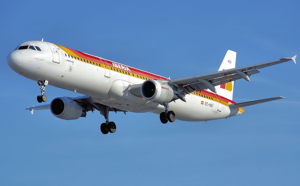 Iberia Airbus A321 200 EC HUI Comunidad Autonomo de La Rioja lands at London Heathrow Airport