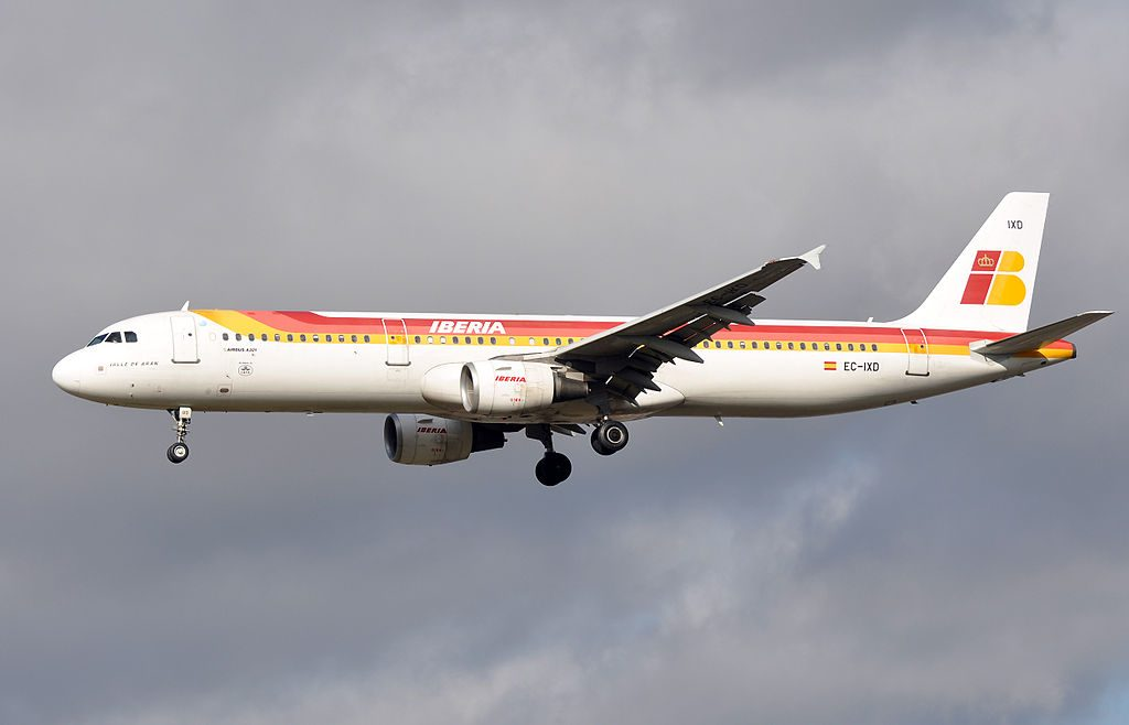 Iberia Airbus A321 200 EC IXD Valle de Arán at London Heathrow Airport