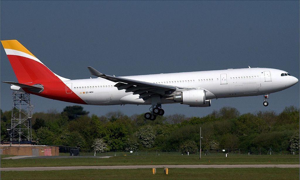 Iberia Airbus A330 200 EC MOU at Manchester Airport EGCC