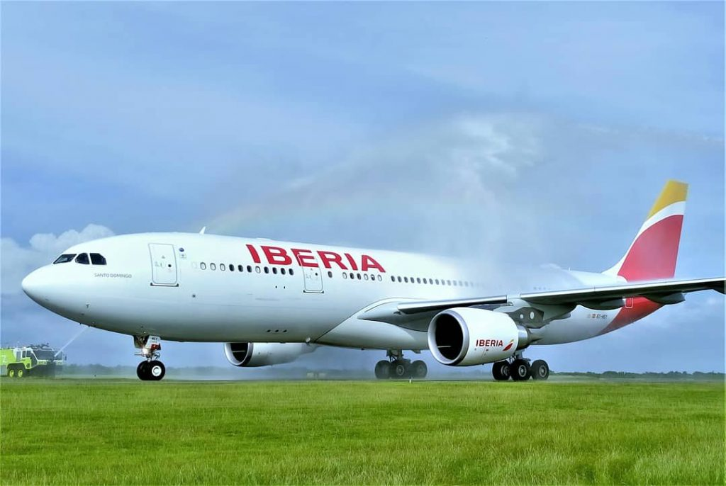 Iberia Airbus A330 200 EC MSY Santo Domingo water salute at Charles de Gaulle Airport