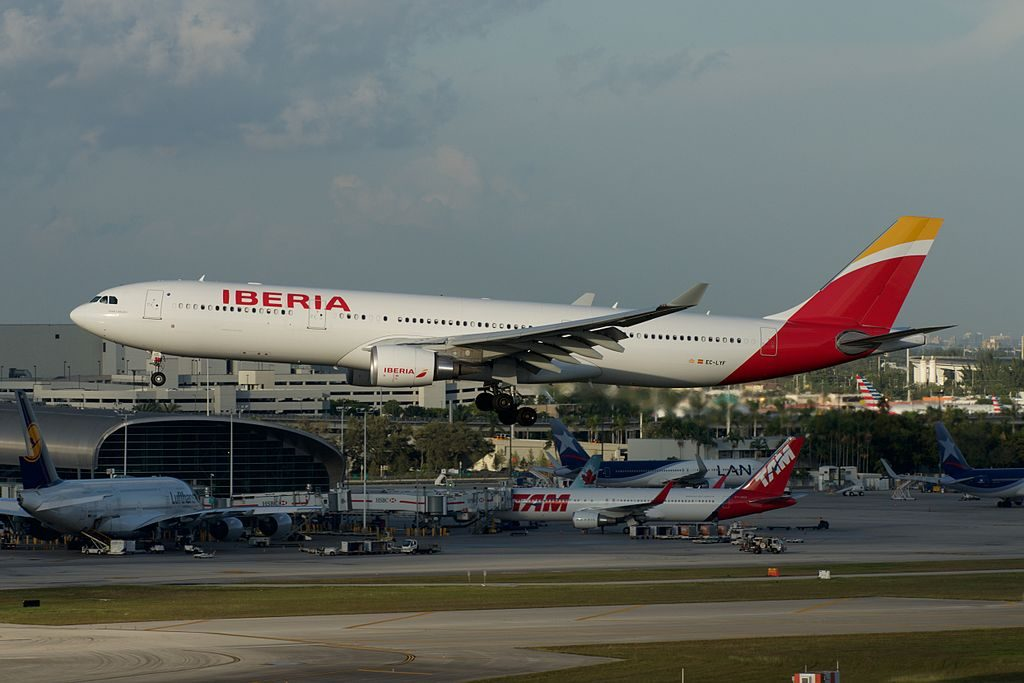 Iberia Airbus A330 300 EC LYF Juan Carlos I at Miami International Airport