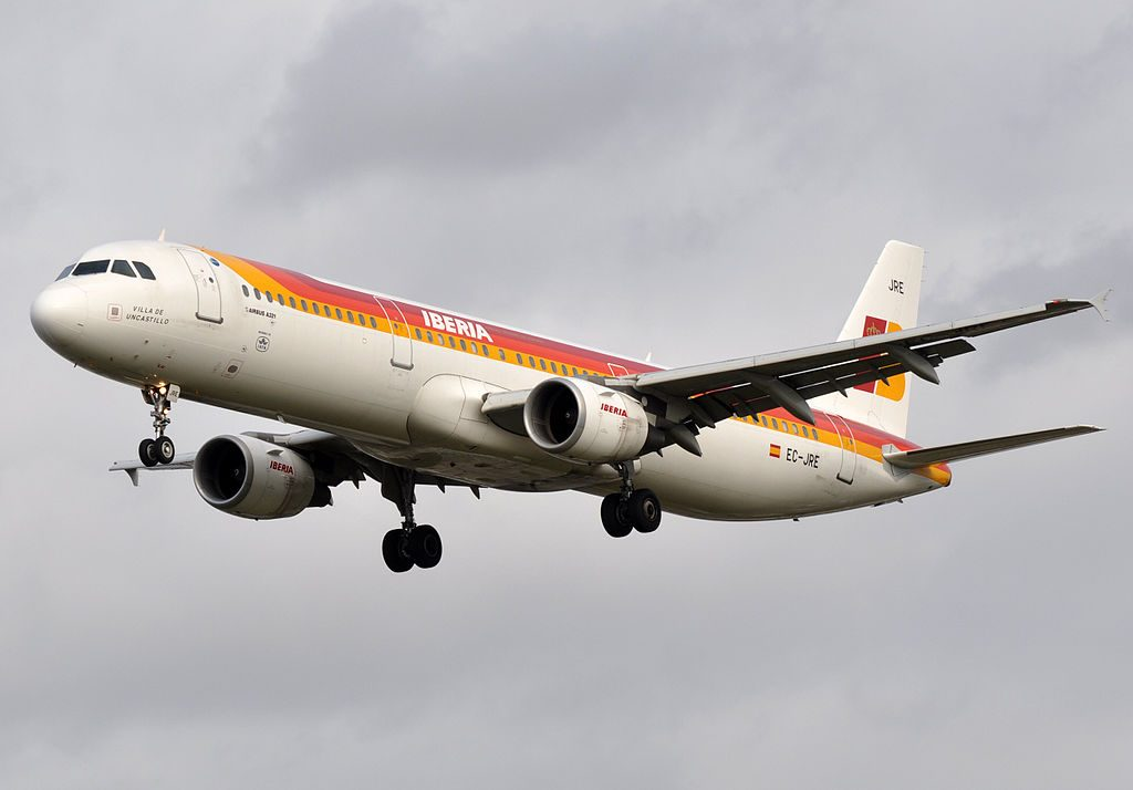 Iberia EC JRE Airbus A321 200 Villa de Uncastillo at London Heathrow Airport