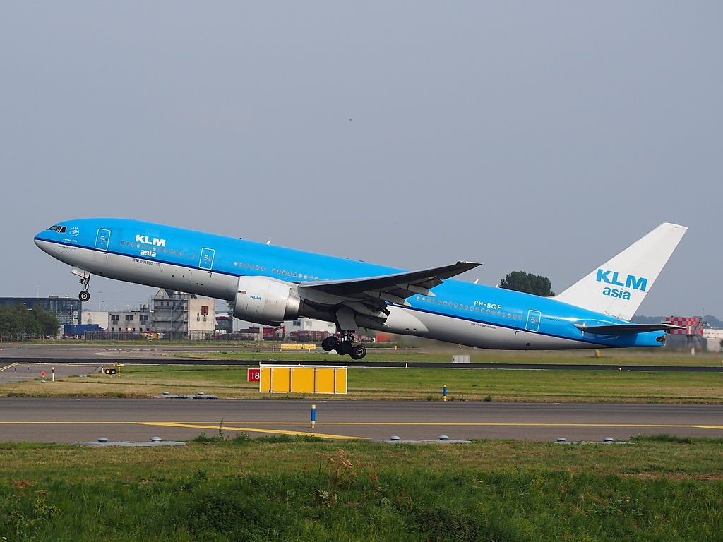 KLM Royal Dutch Airlines PH BQF 777 200ER Ferrara City take off at Amsterdam Airport Schiphol