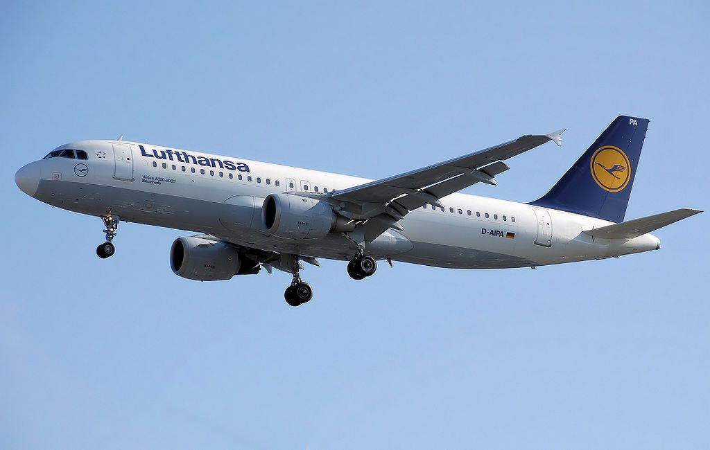 Lufthansa Airbus A320 200 D AIPA lands at London Heathrow Airport.