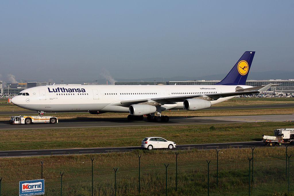 Lufthansa Airbus A340 313 D AIGT Viersen at Frankfurt Airport