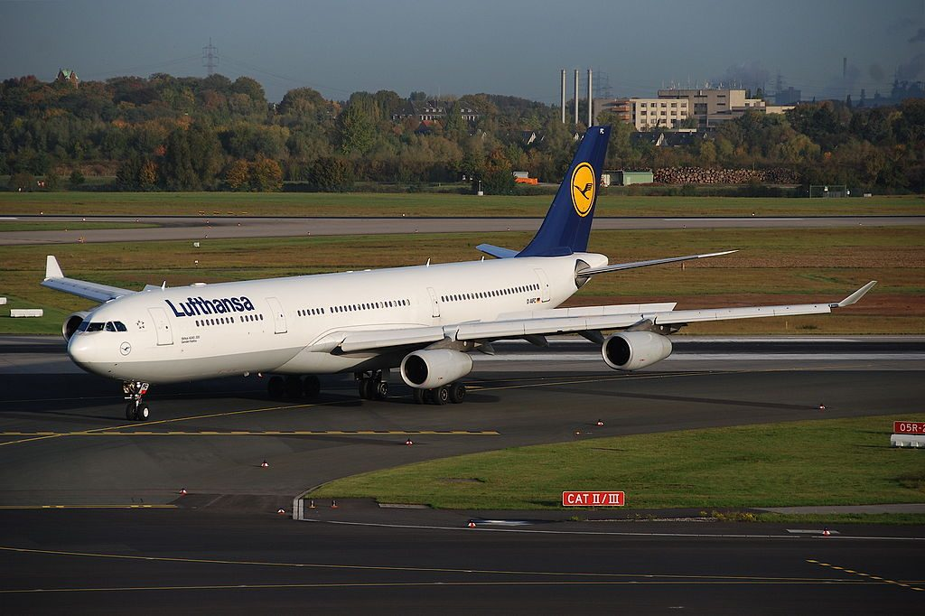 Lufthansa Airbus A340 313X D AIFC Gander Halifax at Düsseldorf Airport DUS