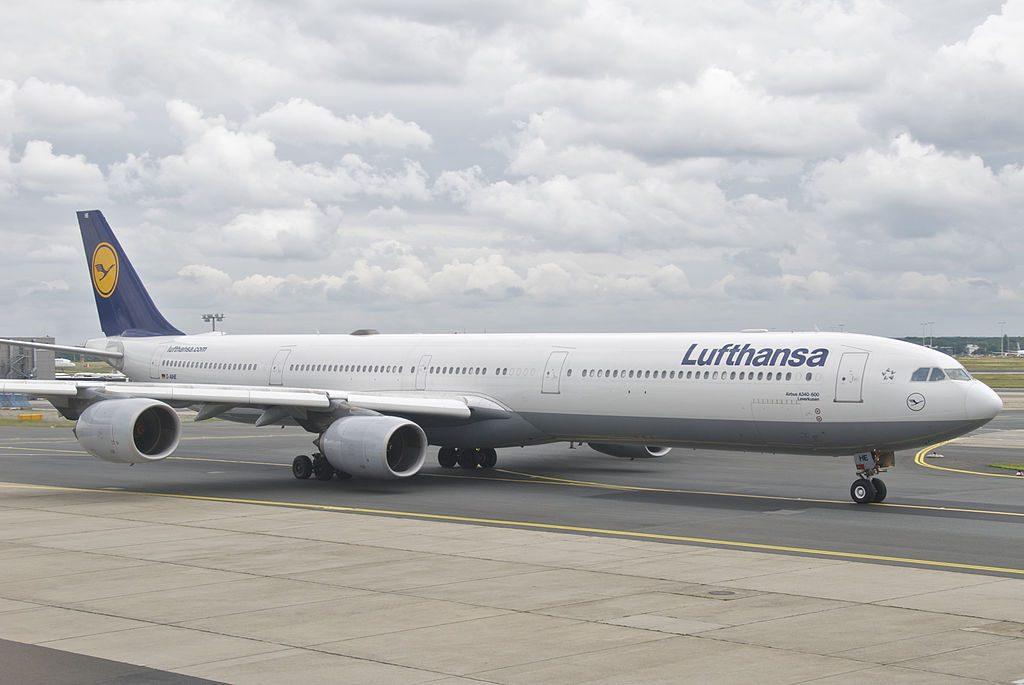 Lufthansa Airbus A340 600 D AIHE Leverkusen at Frankfurt Airport FRA