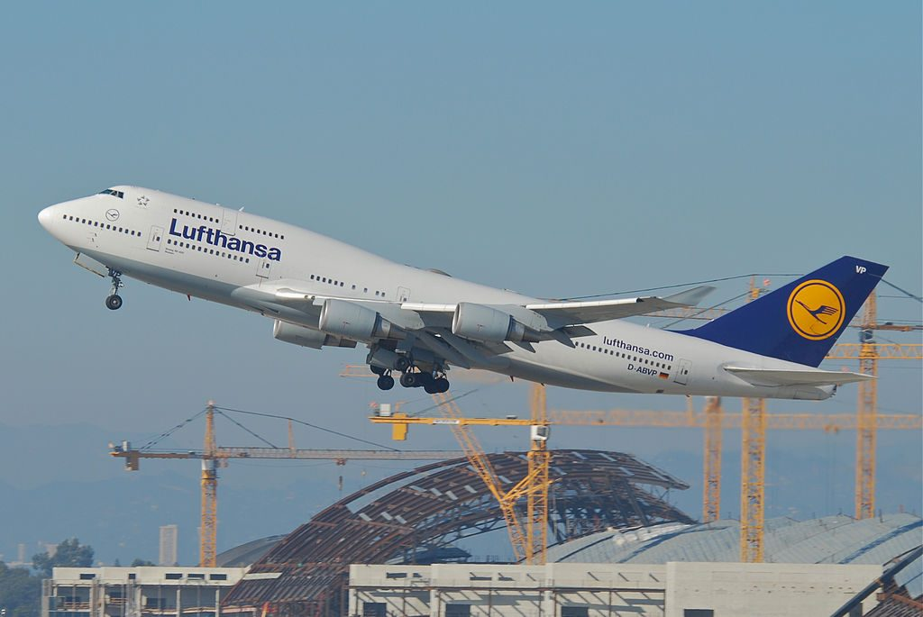 Lufthansa Boeing 747 400 D ABVP departing at Los Angeles International Airport LAX