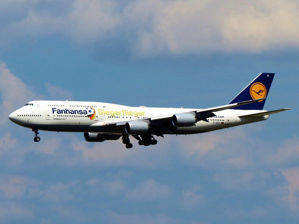 Lufthansa Boeing 747 830 D ABYI Siegerflieger Fanhansa Potsdam 2014 FIFA World Champion livery at Frankfurt Airport