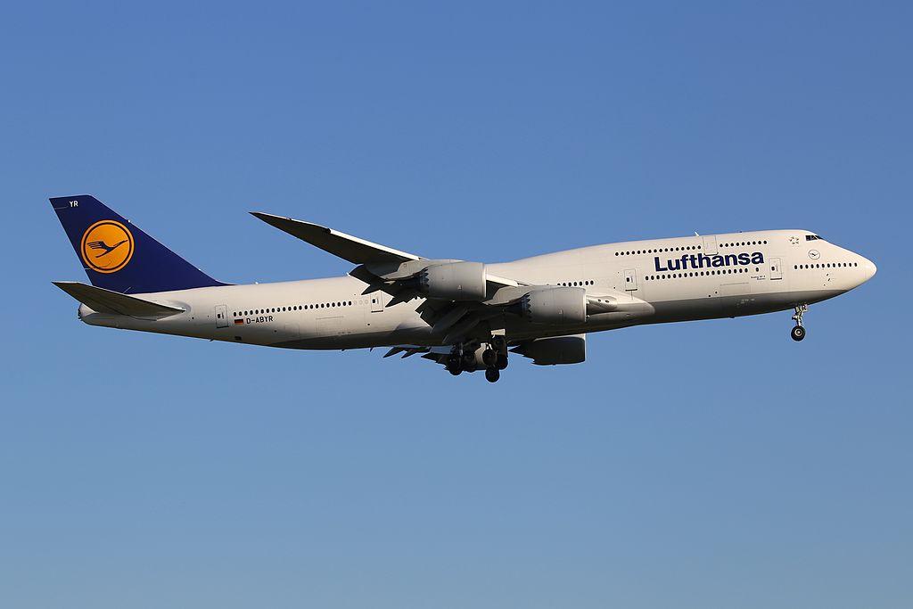 Lufthansa Boeing 747 830 D ABYR Bremen at Frankfurt am Main