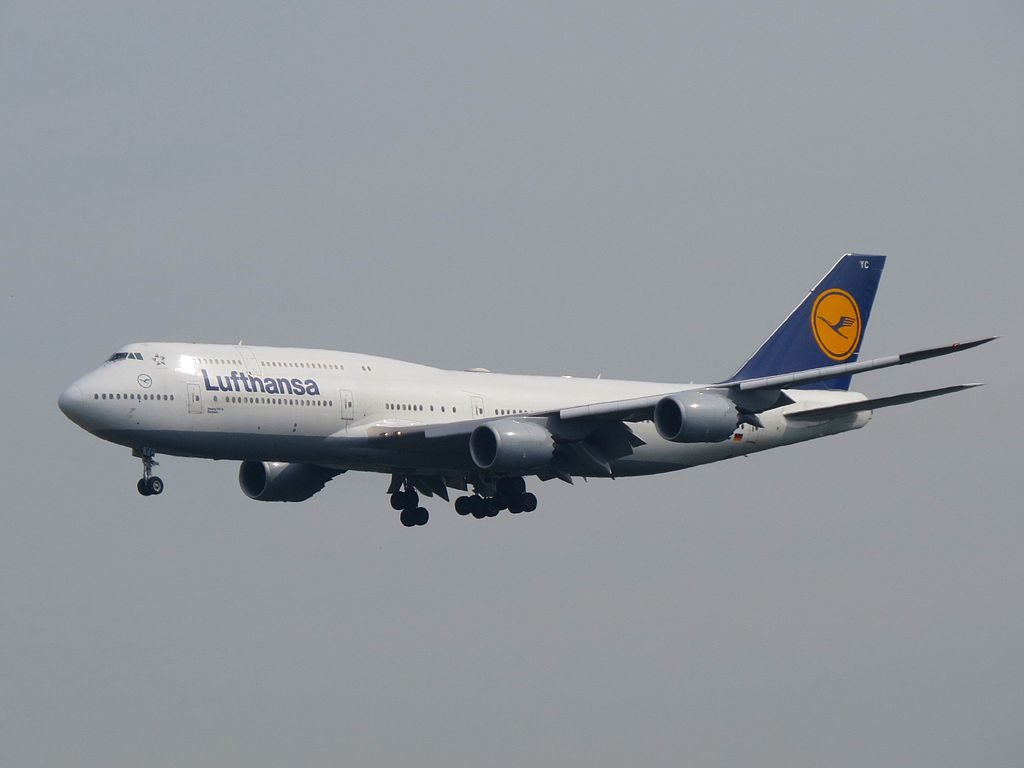 Lufthansa Boeing 747 830 Sachsen D ABYC on final at Frankfurt Airport