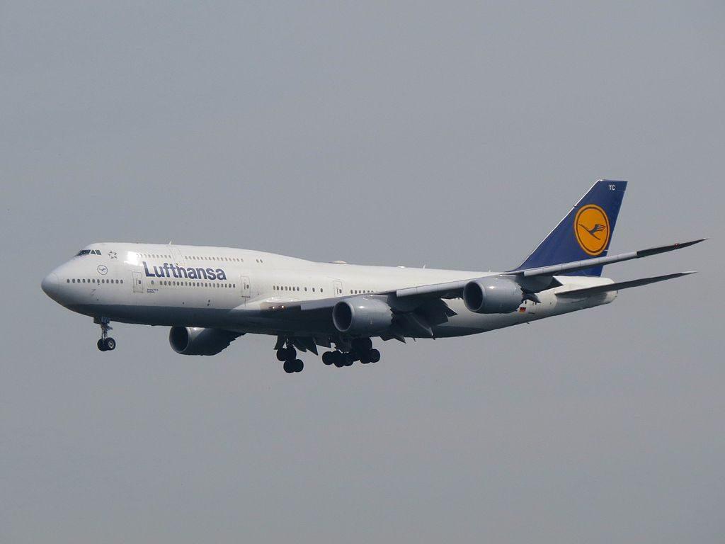 Lufthansa Boeing 747 830 Sachsen D ABYC on final at Frankfurt Airport