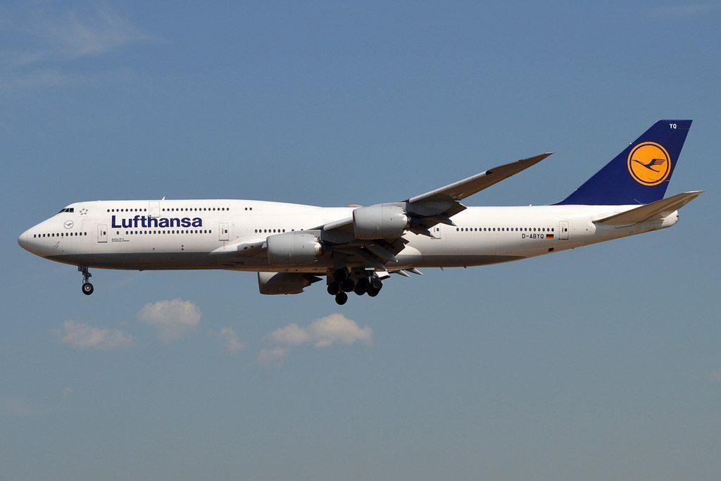 Lufthansa D ABYQ Boeing 747 830 Schleswig Holstein at Frankfurt Airport